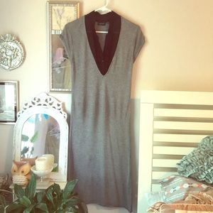 Women's sweater dress with attached shirt collar.